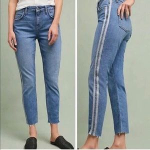 Pilcro High-Rise Slim Straight Jeans Silver Seam